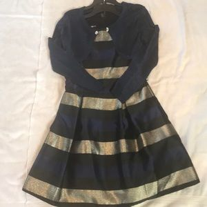 Girl Holiday Dress with Navy Shimmer Shrug, Large
